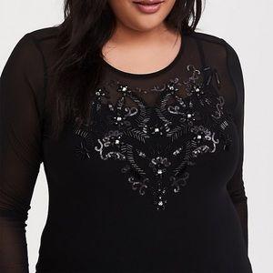 Black Mesh Embellished Top